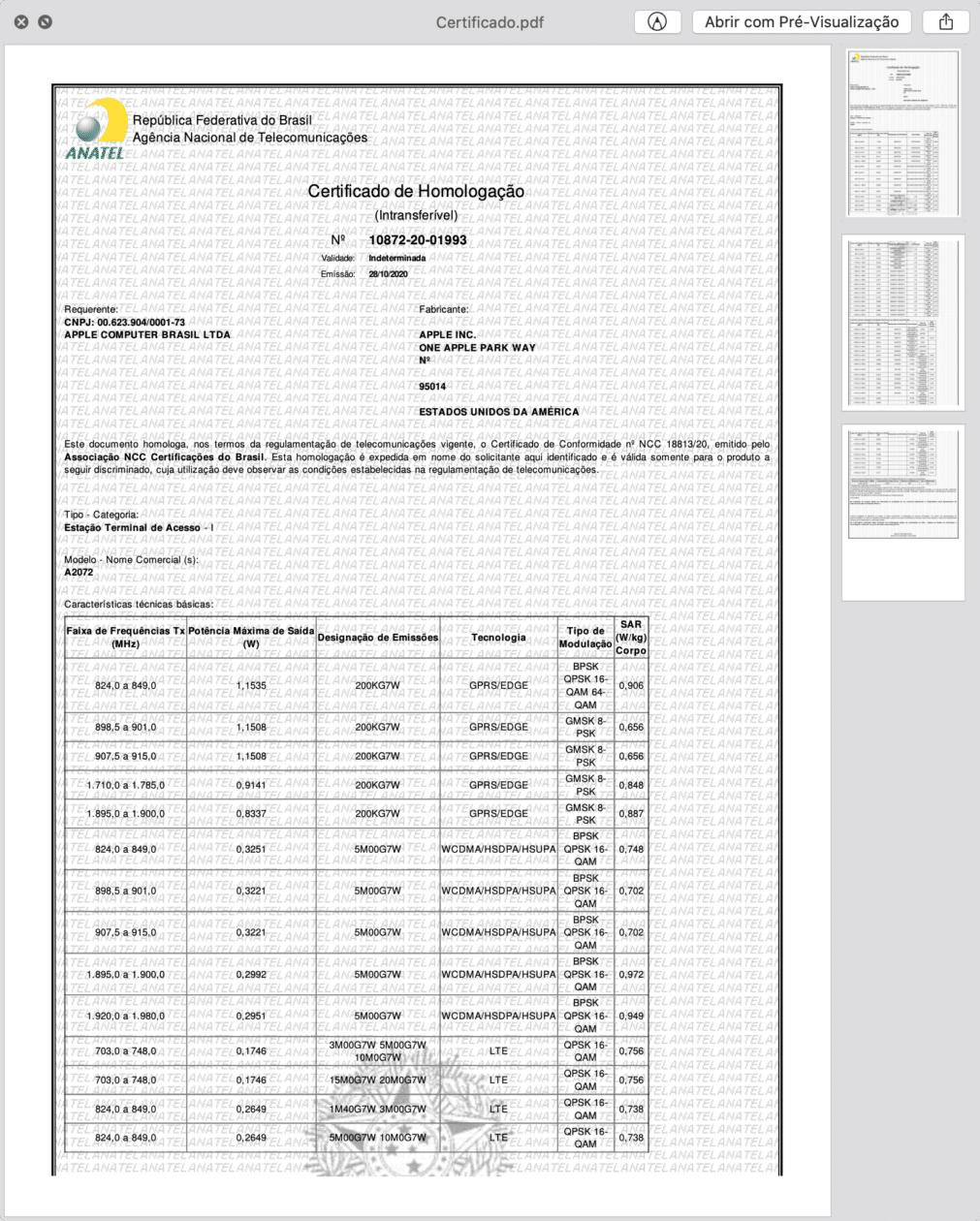Certificado de Homologação do A2072