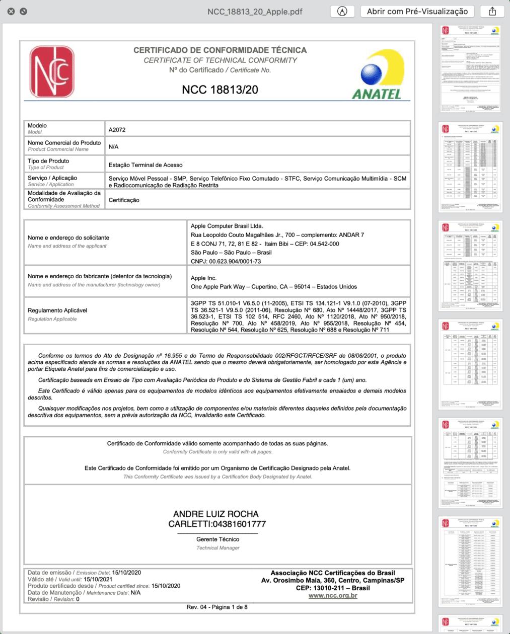 Certificado de Conformidade Técnica do A2072