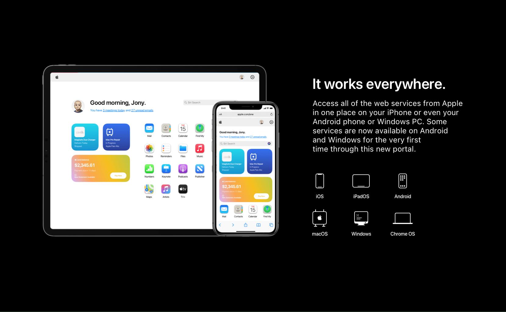 Conceito de hub de serviços da Apple na web