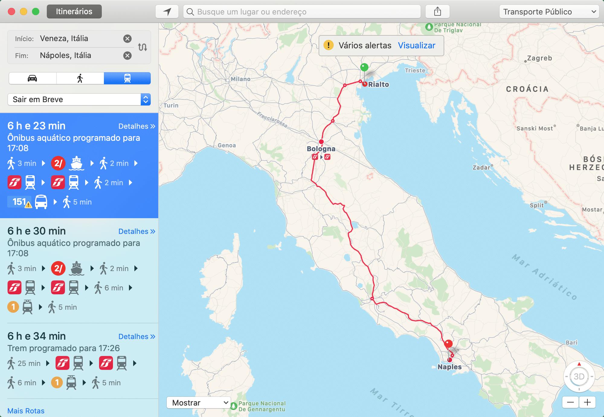 Mapas da Apple com informações de transporte público na Itália