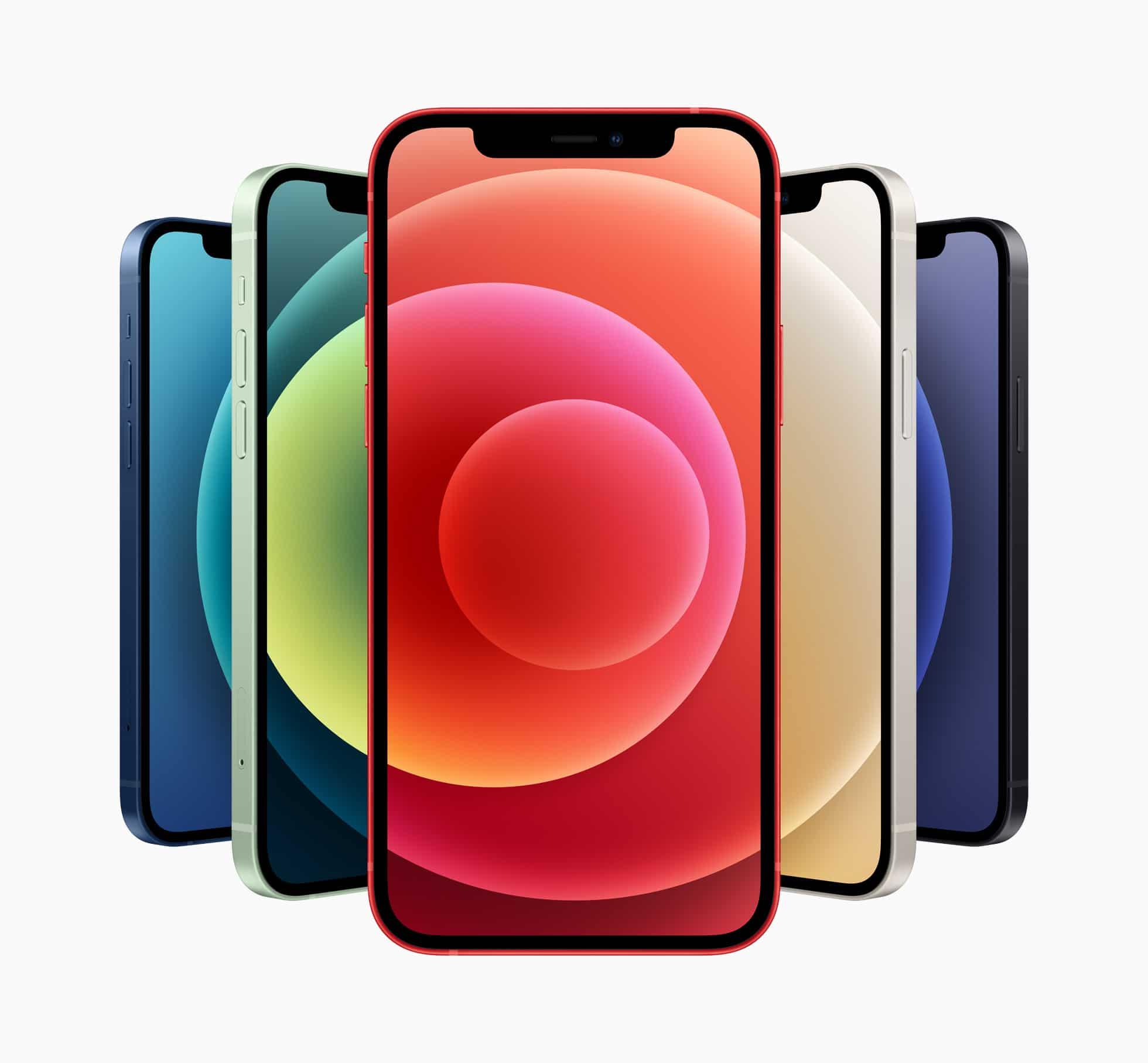iPhones 12 em todas as cores, de frente