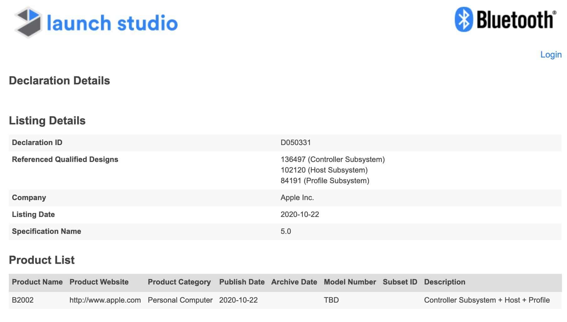 """Registro de """"computador pessoal"""" da Apple em base de dados Bluetooth"""