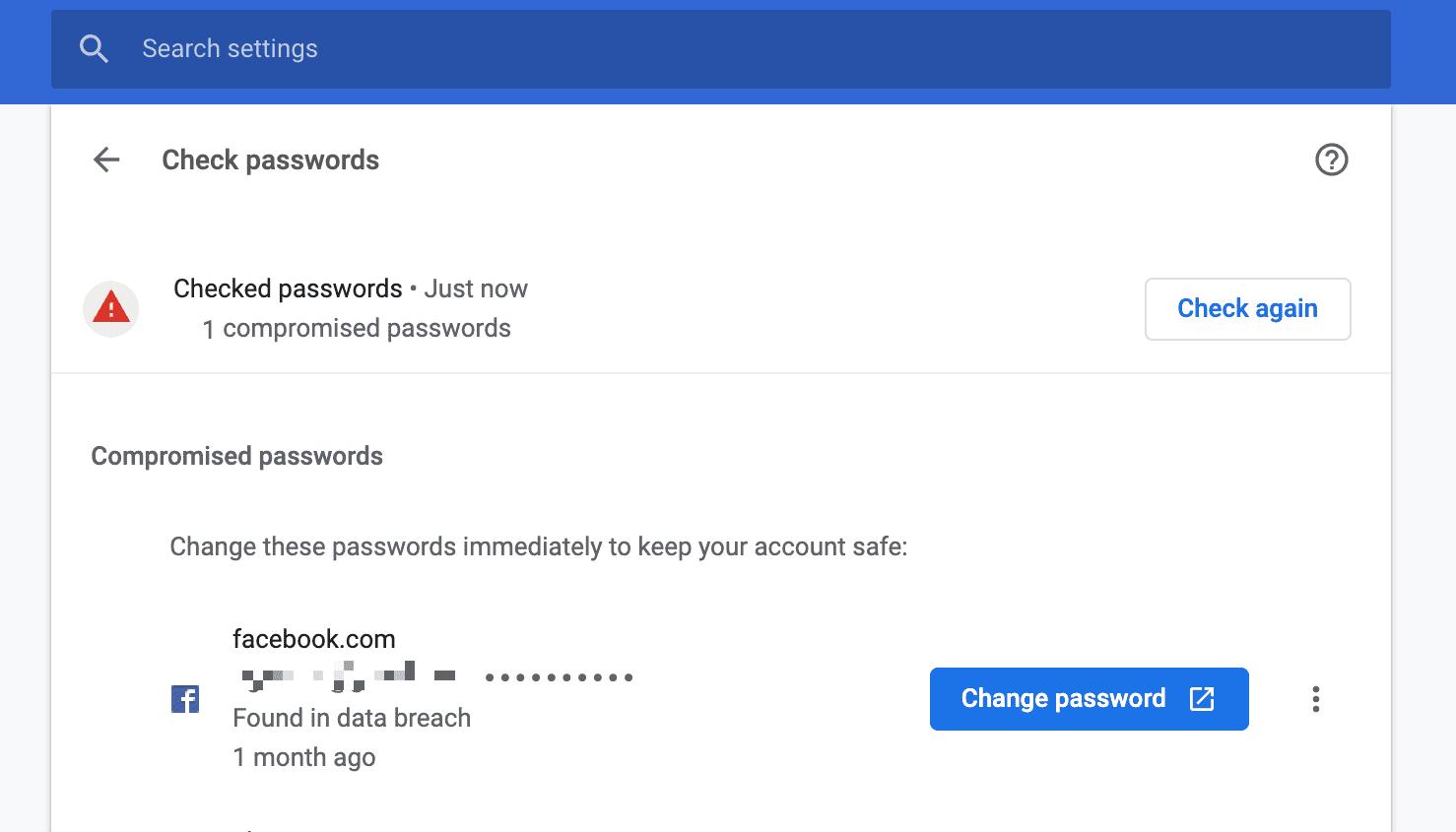 Recurso de mudança de senha no Chrome 86