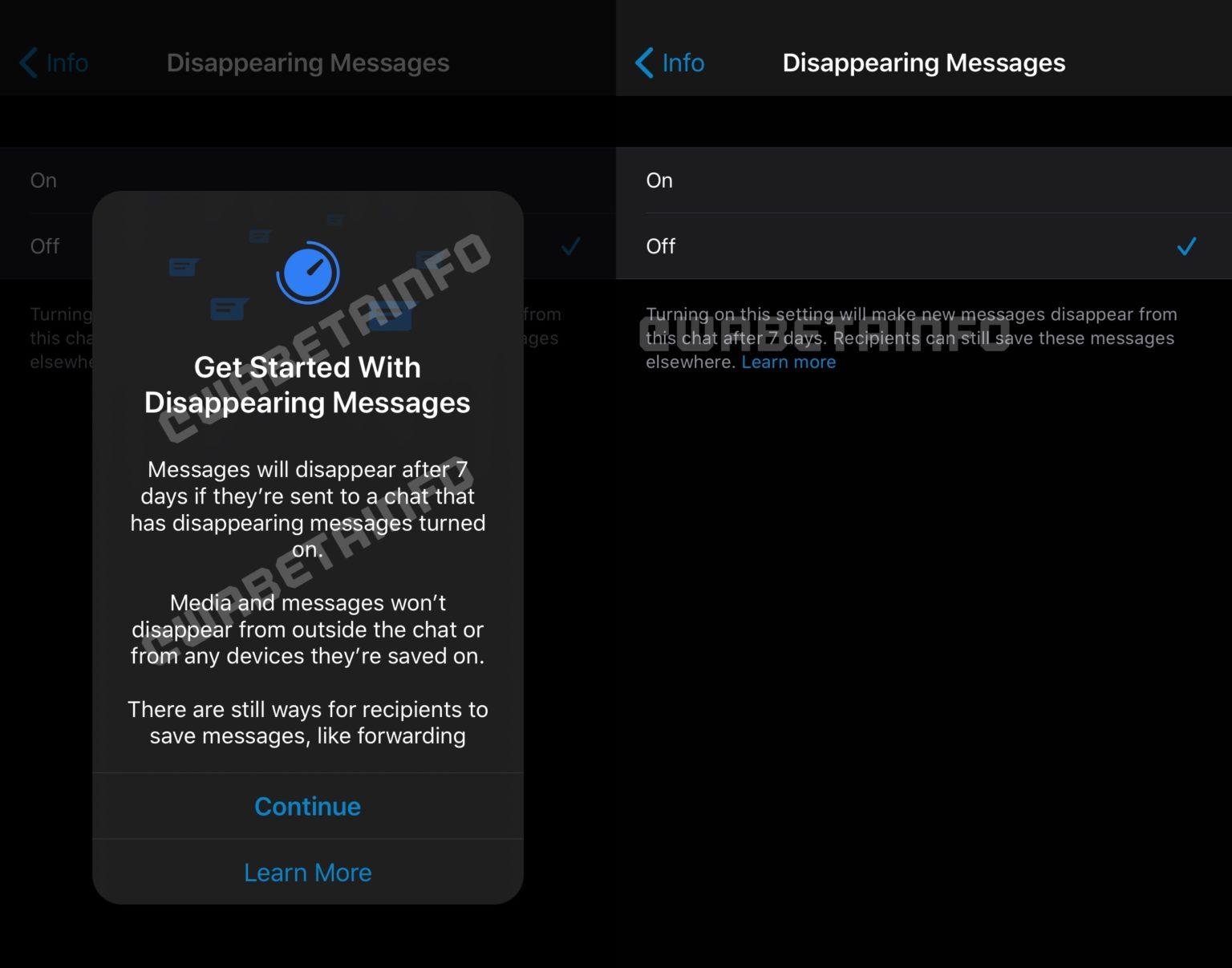 Mensagens que desaparecem no WhatsApp