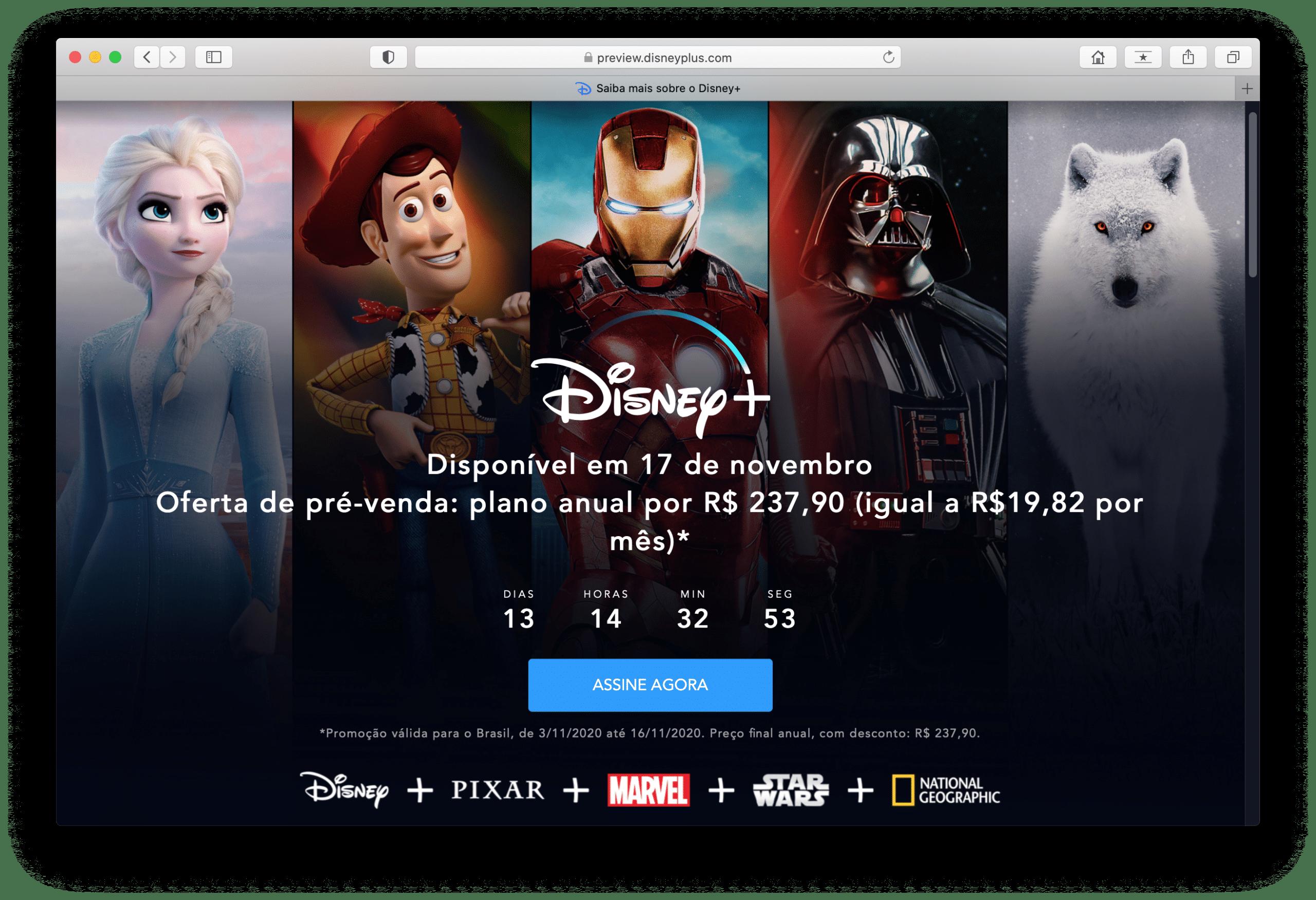 Pré-venda do Disney+