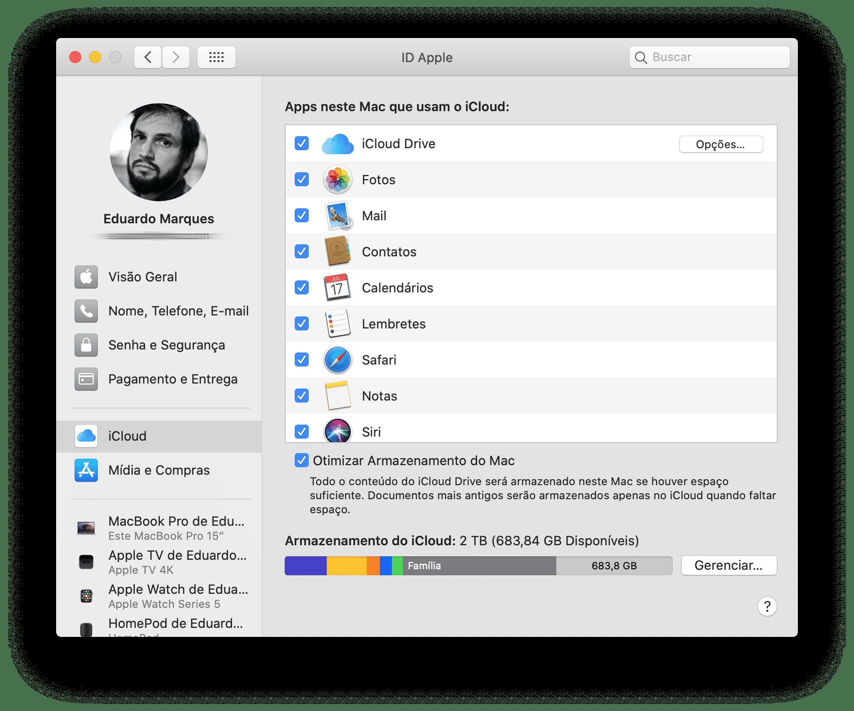 ID Apple, em Preferências do Sistema do macOS Catalina