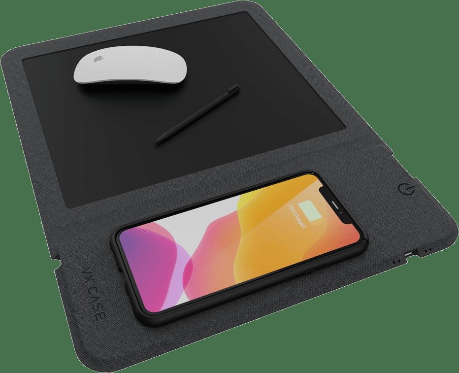 Mouse Pad com Carregador Wireless e Note Pad VX Case Magic Pad 3 em 1