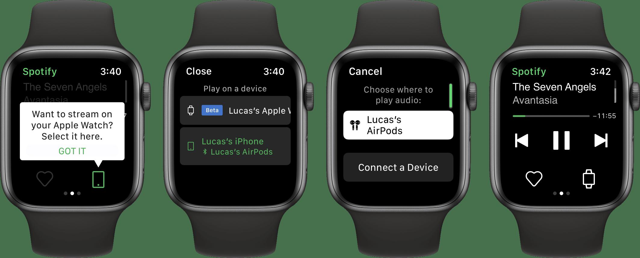 Spotify com streaming de músicas no Apple Watch