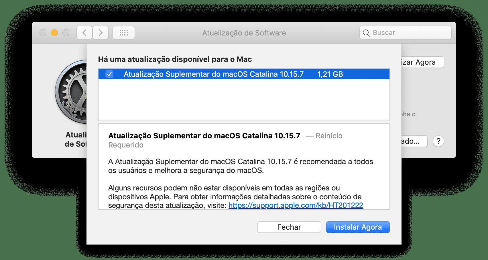 Atualização Suplementar do macOS Catalina 10.15.7