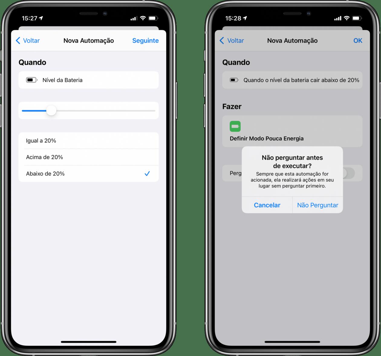 Automação de recursos de bateria no iOS 14
