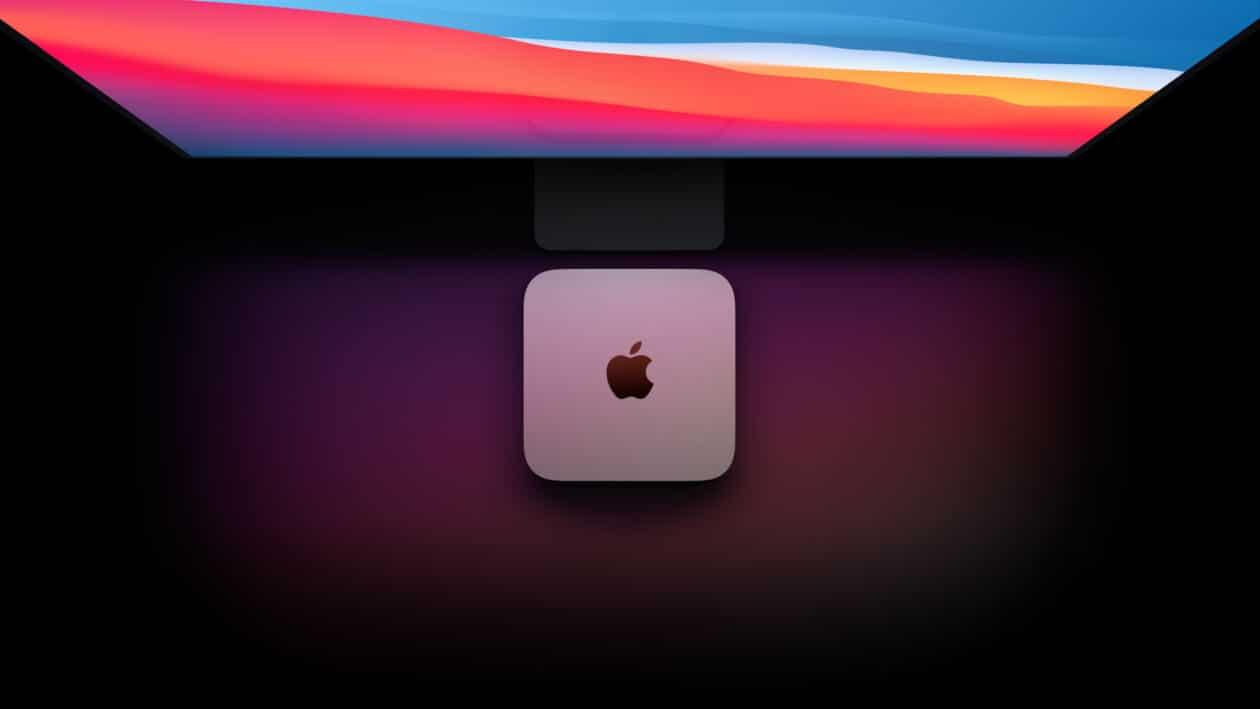 Mac mini com chip Apple A1 visto de cima em frente a Pro Display XDR