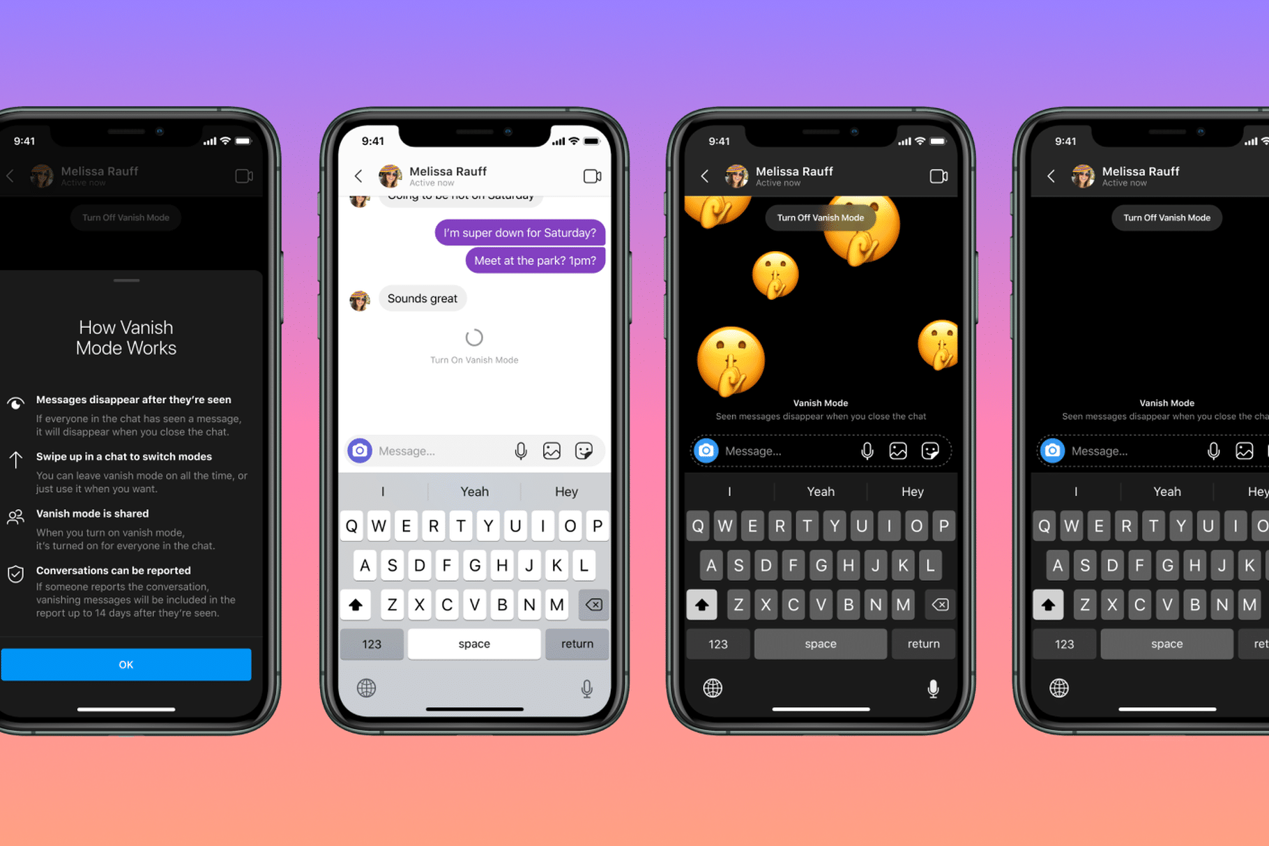 Vanish Mode no Facebook Messenger