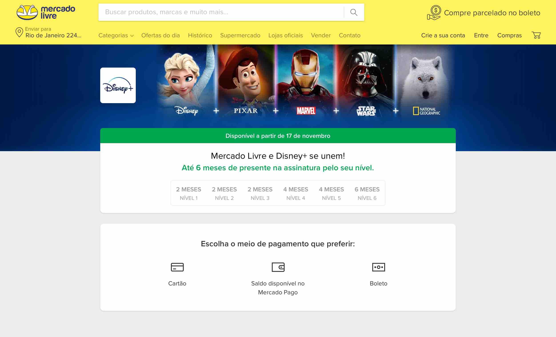 Disney+ no Mercado Livre