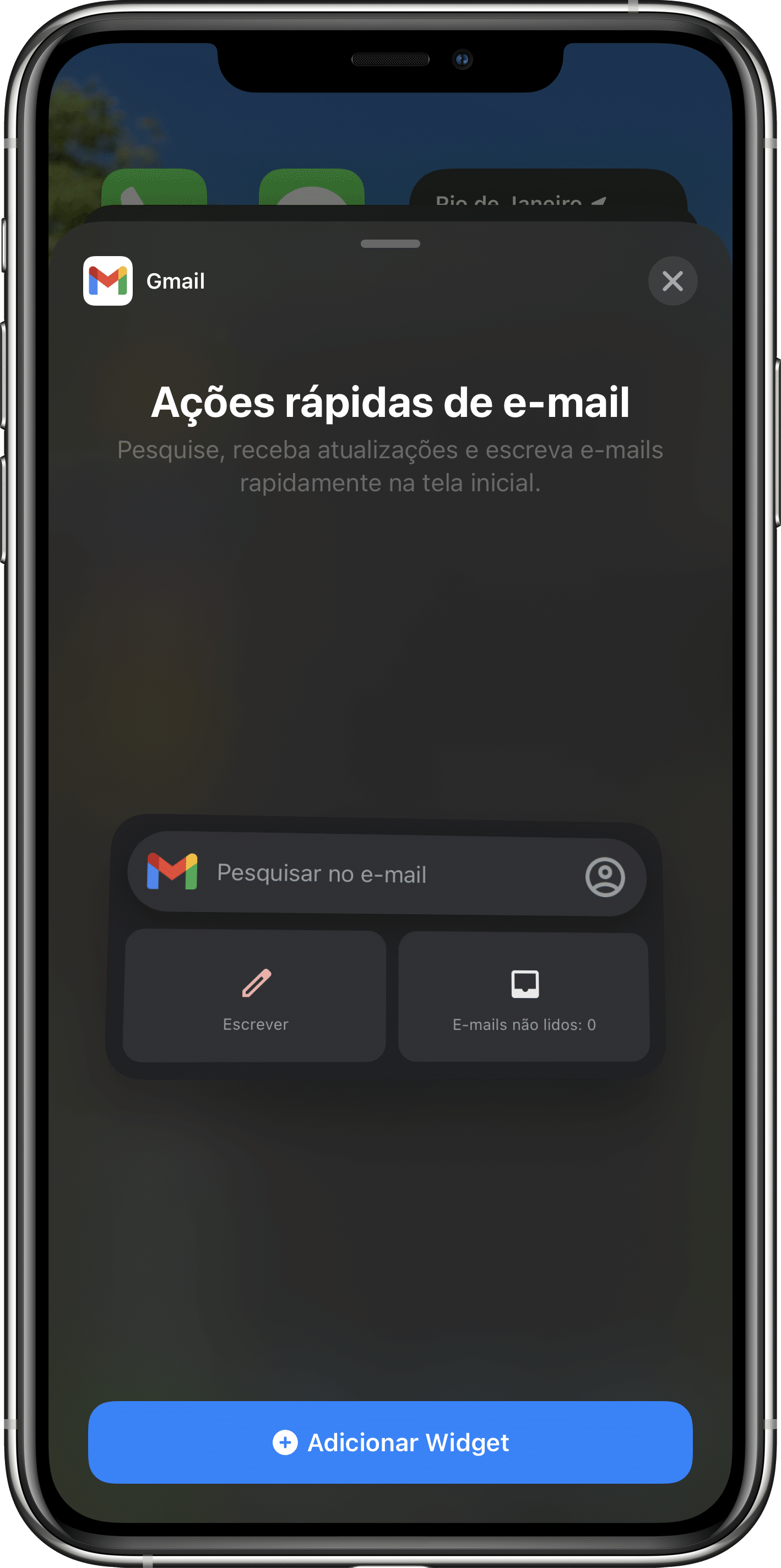 Widget do Gmail no iOS 14