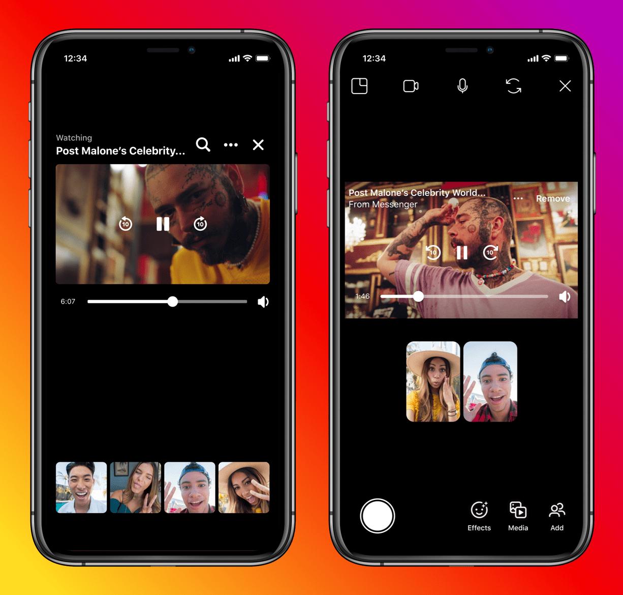 Novos recursos do Instagram e do Facebook Messenger