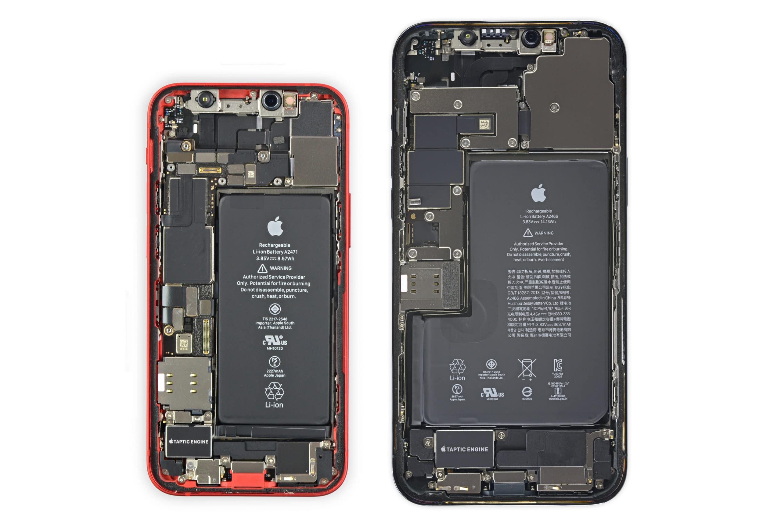 Baterias dos iPhones 12 mini e 12 Pro Max (iFixit)