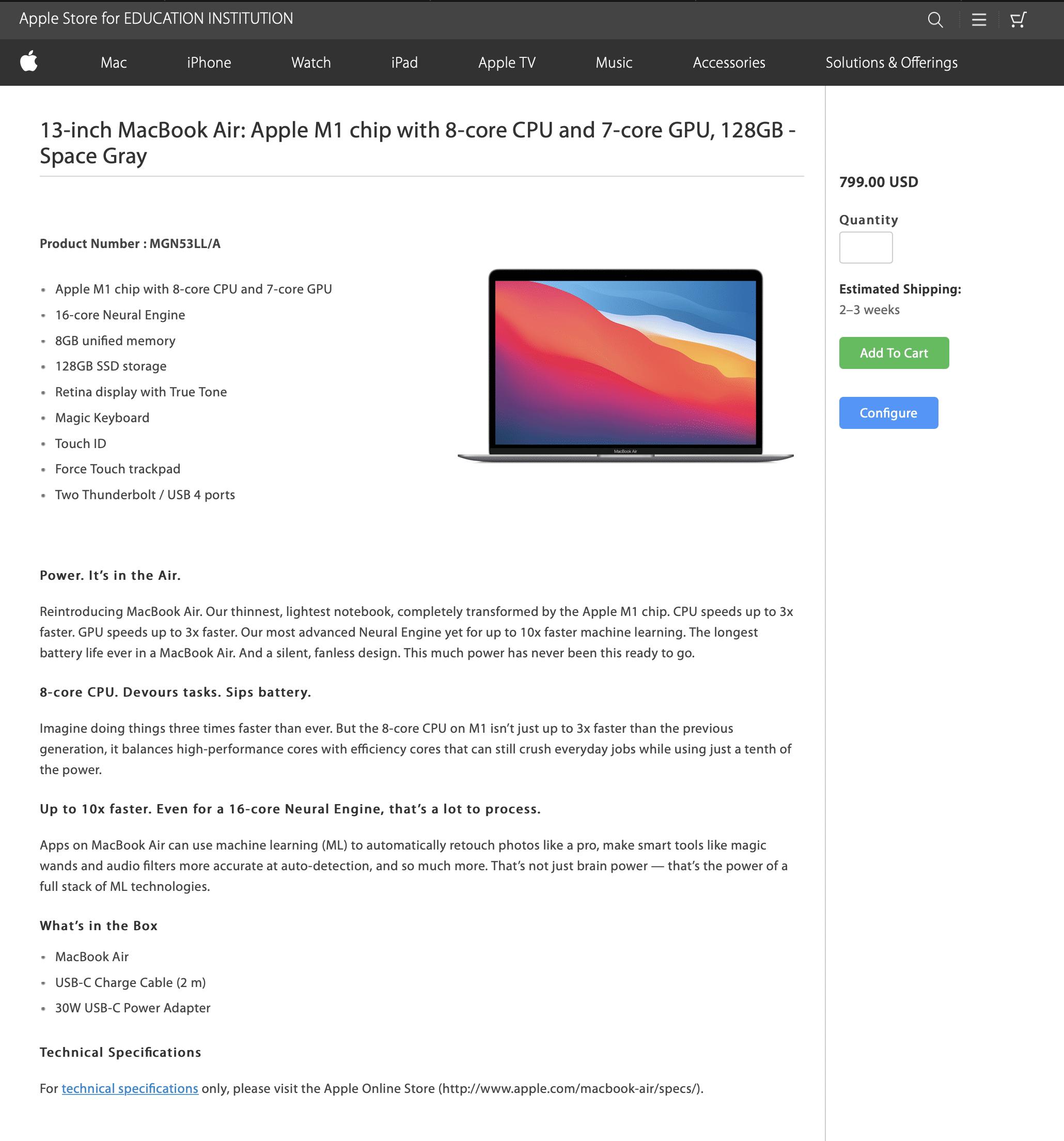 MacBook Air de US$799 na loja educacional da Apple