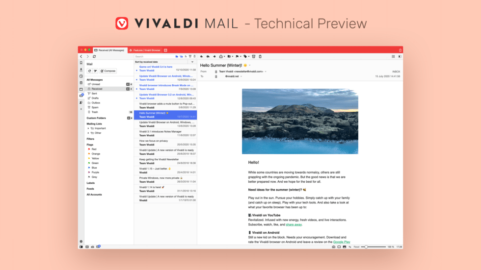 Preview do Vivaldi Mail