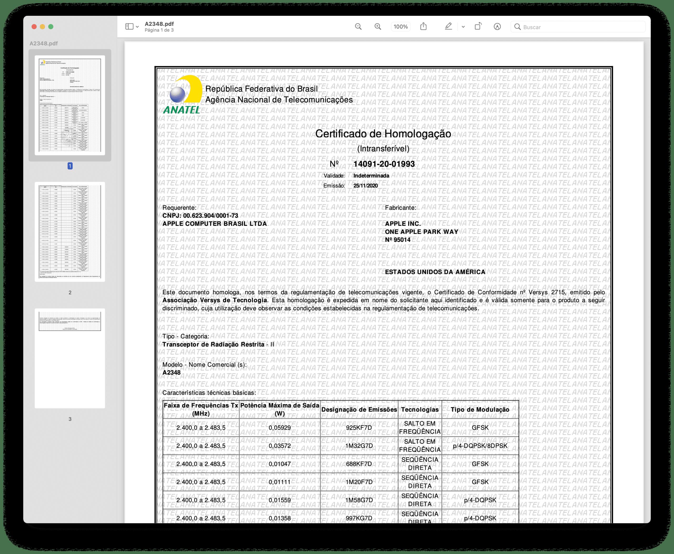Certificado de Homologação do Mac mini M1 (A2348)