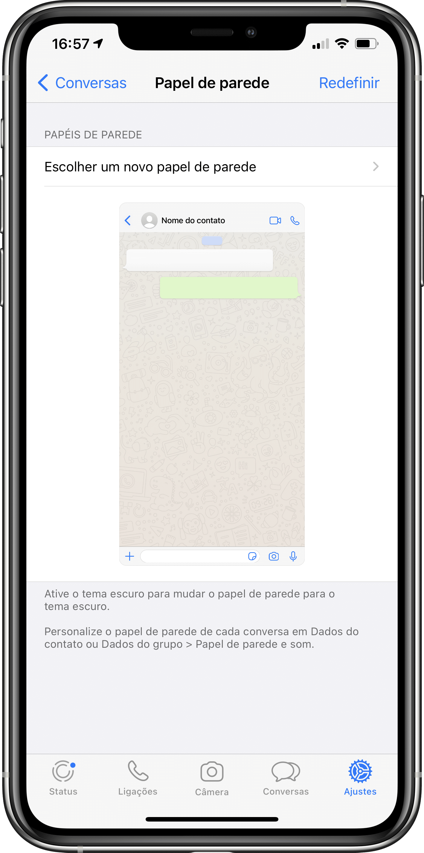 Papel de parede no WhatsApp