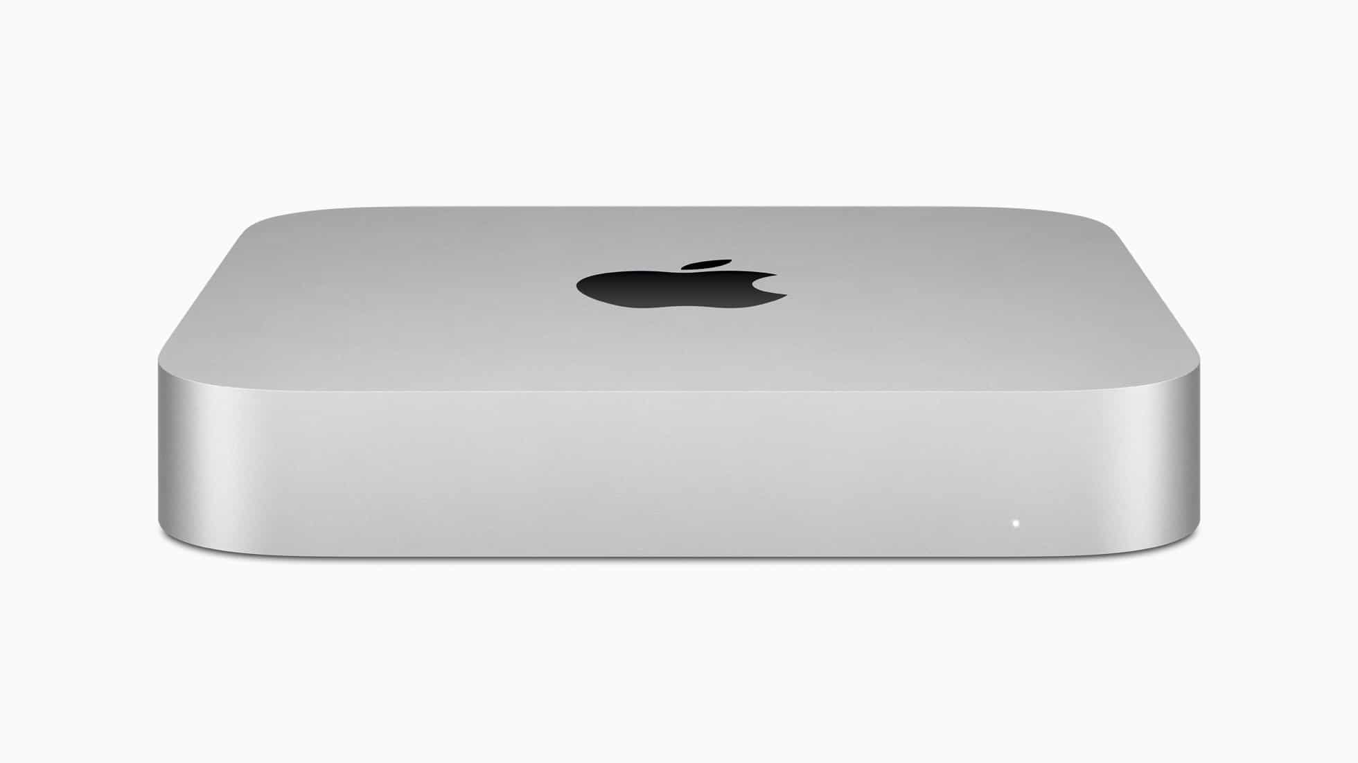 Novo Mac mini com chip Apple M1 na cor prateada de frente