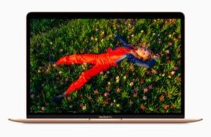 Tela Retina do MacBook Air dourado