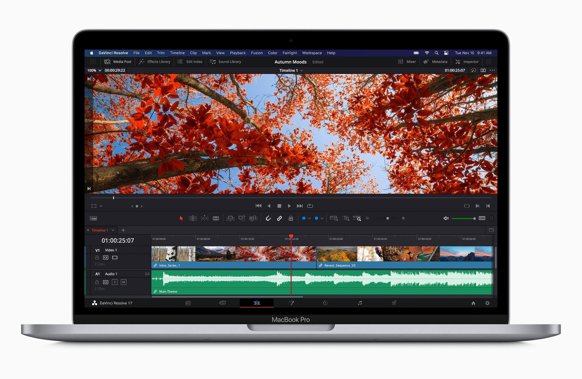 DaVinci Resolve rodando num MacBook Pro de 13 polegadas com chip Apple M1