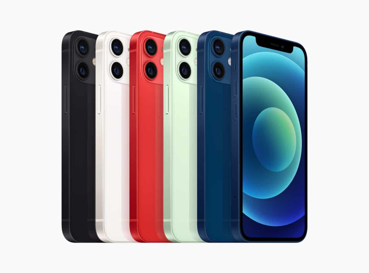 Todas as cores do iPhone 12 mini lado a lado