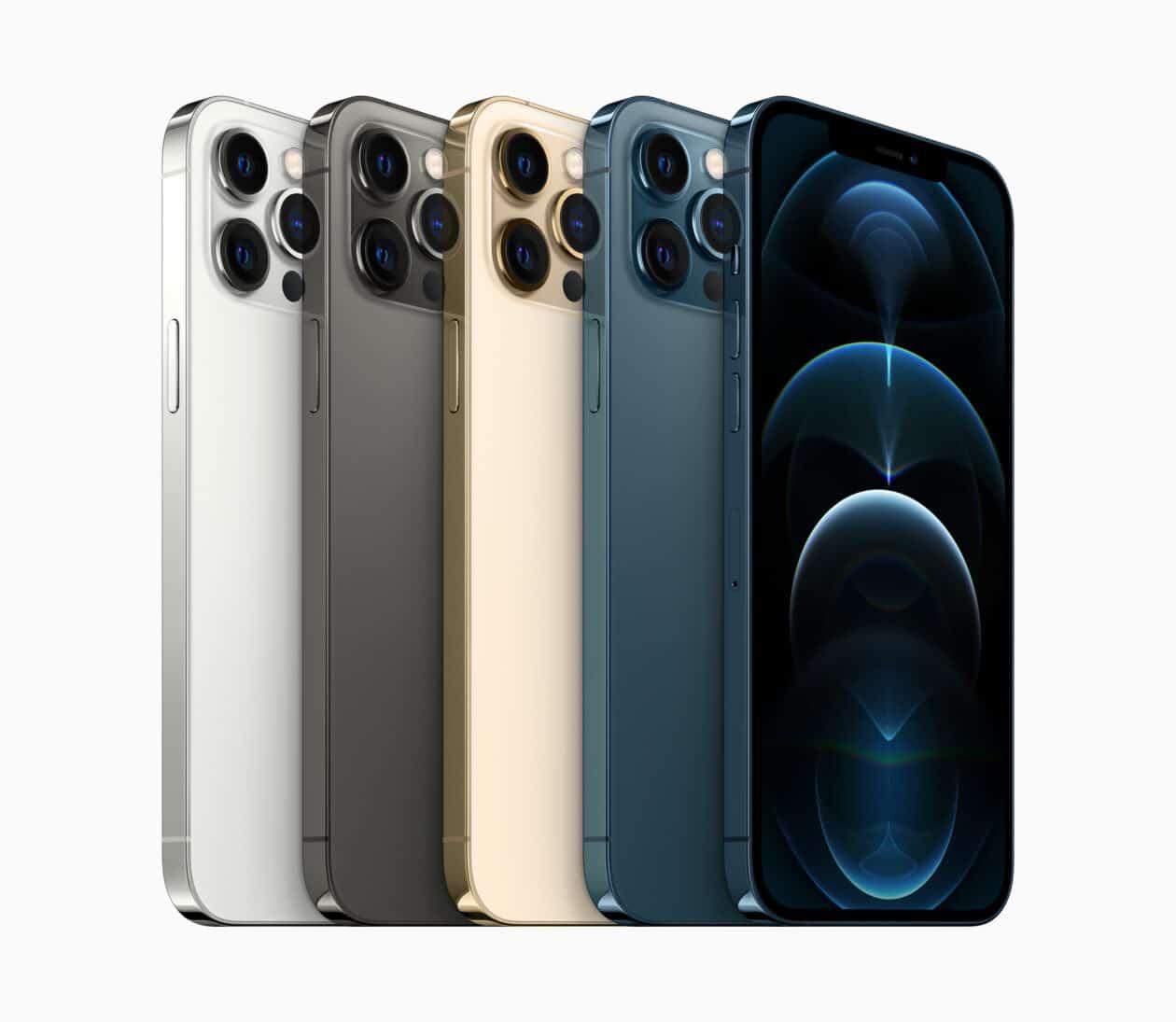 Todas as cores do iPhone 12 Pro Max de lado, inclinados