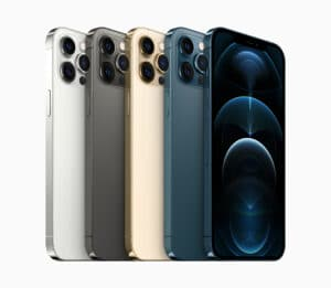 Todas as cores do iPhone 12 Pro Max de lado, inclinados