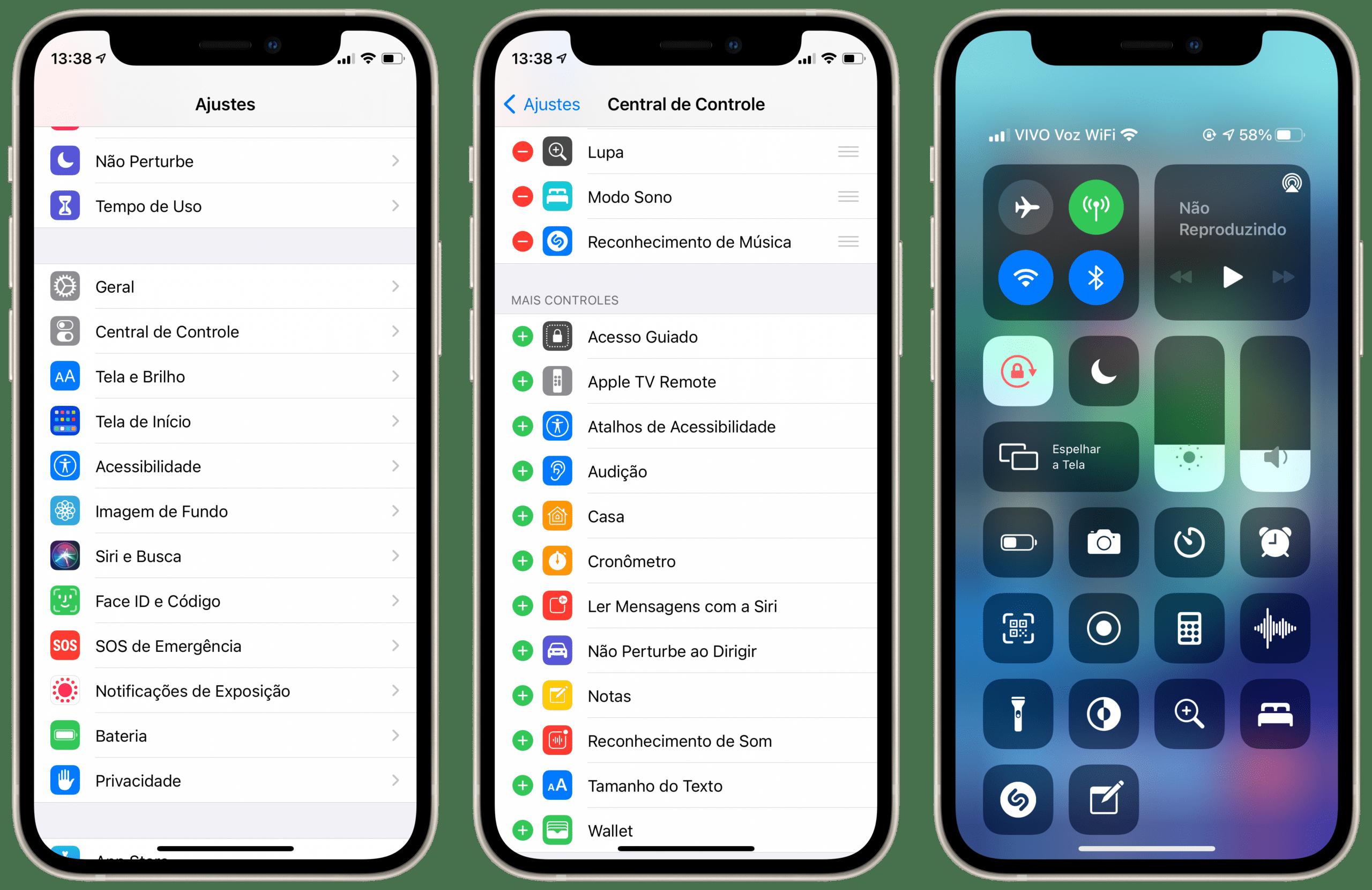 Notas na Central de Controle do iOS