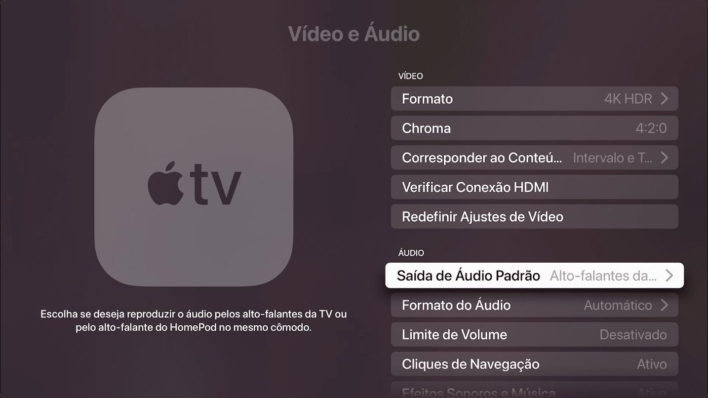 Modo Home Theater na Apple TV