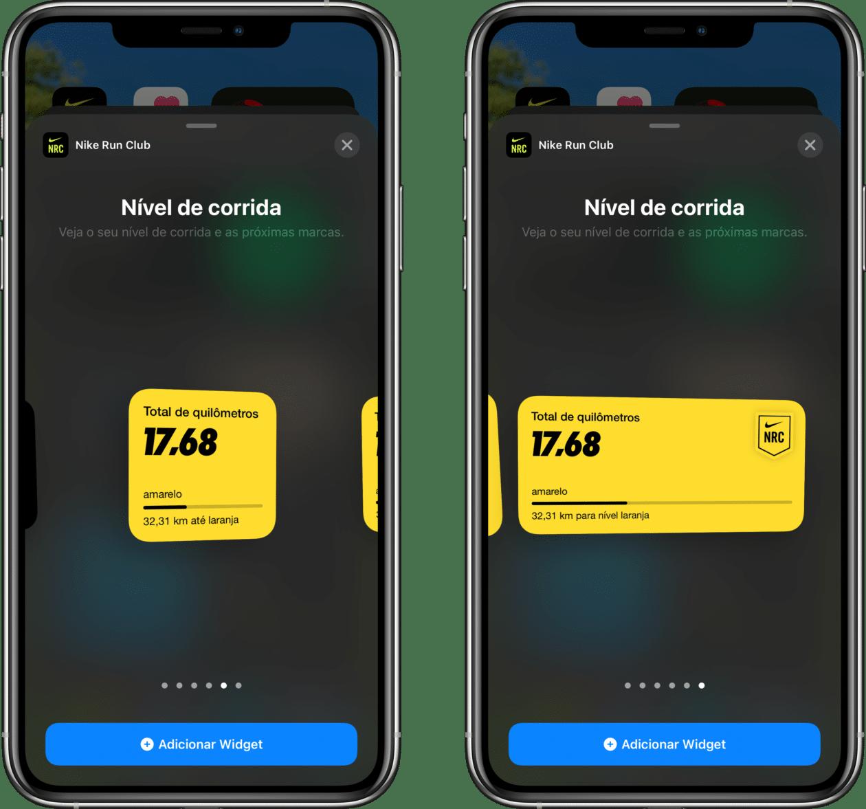 Widgets do app Nike Run Club