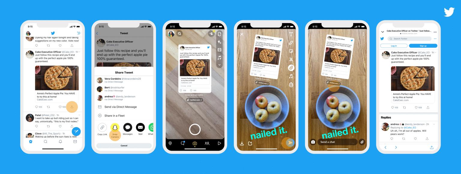 Compartilhando tweets no Snapchat