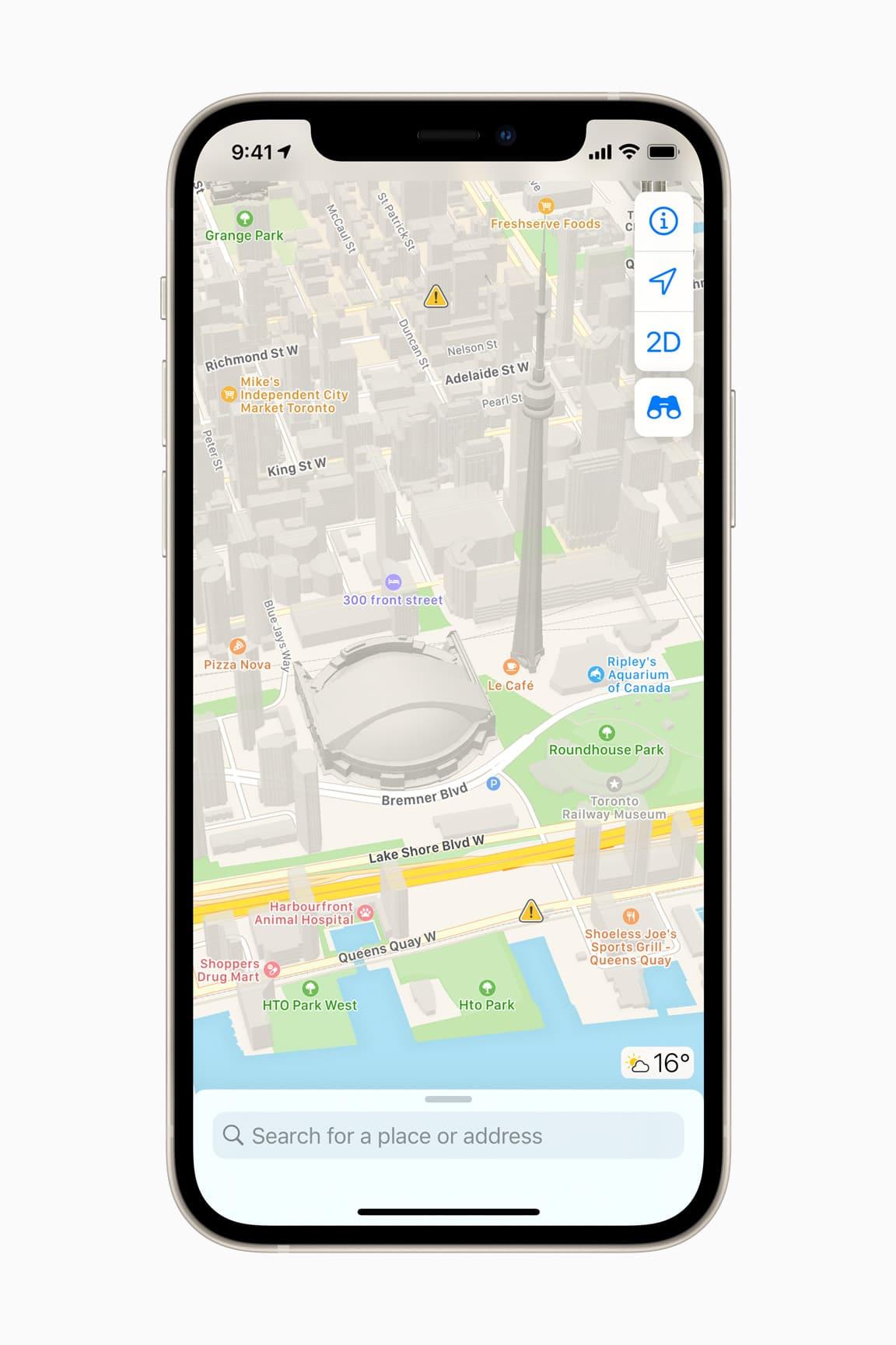 Mapas renovados da Apple no Canadá