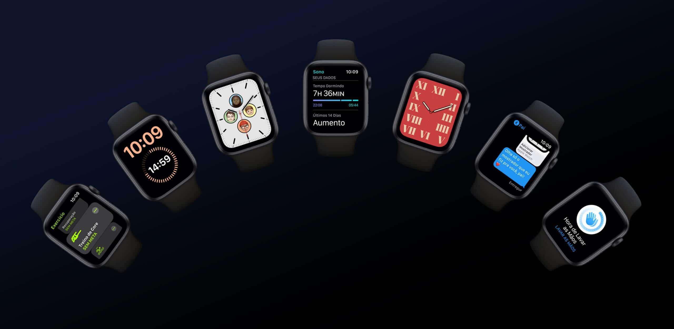Apple Watches rodando o watchOS 7