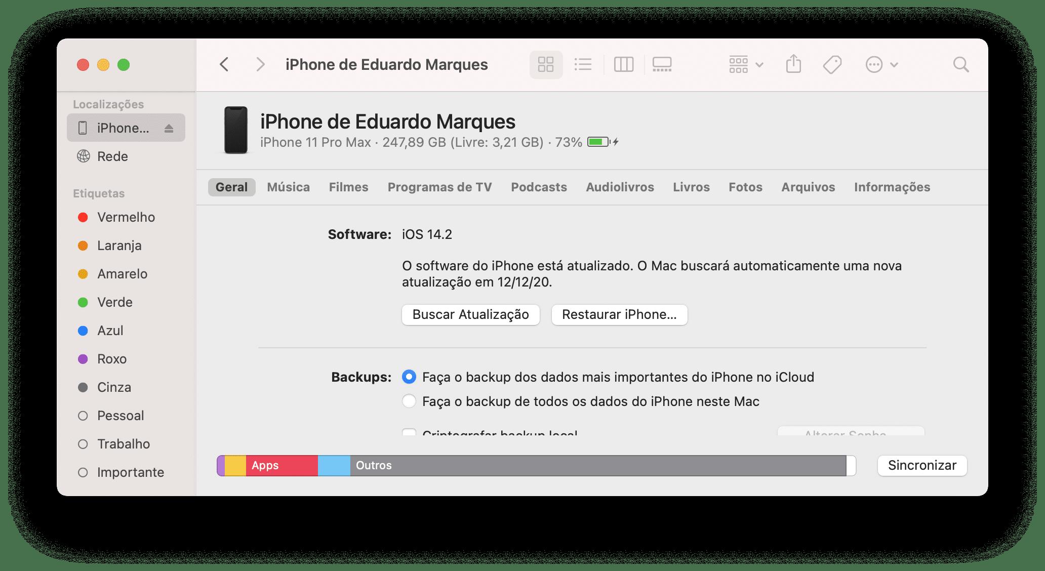 Atualizando o iOS pelo Finder do macOS