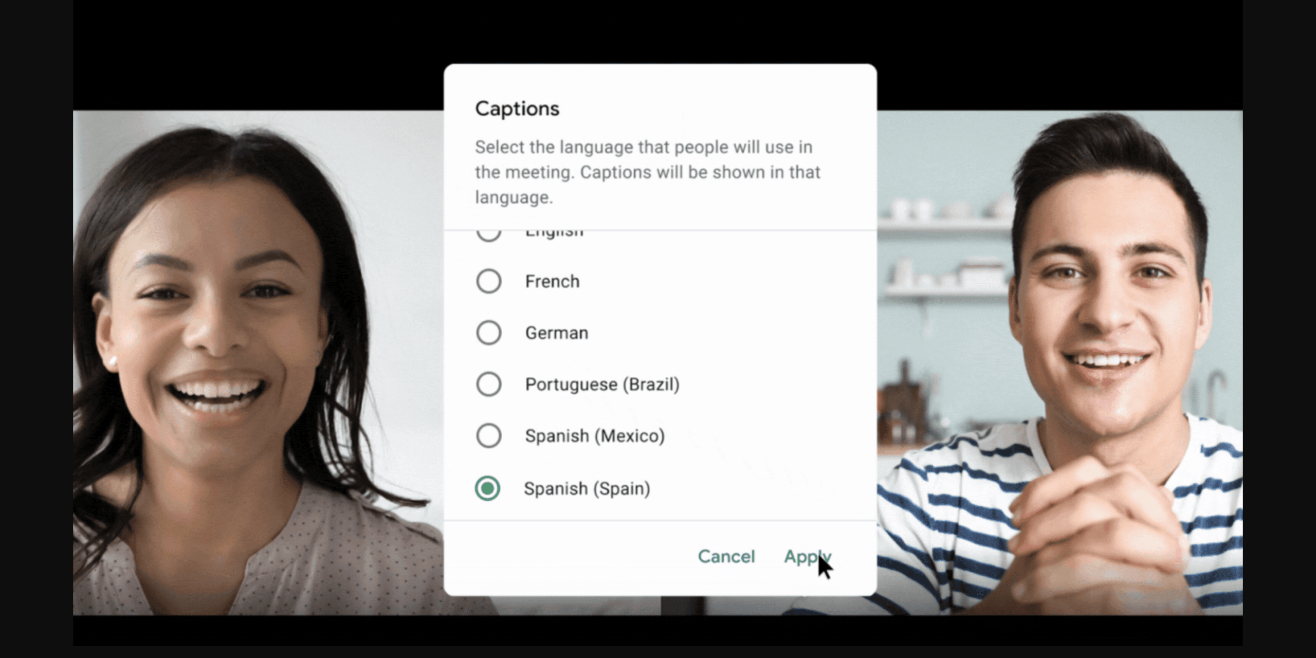 Legendas automáticas em português no Google Meet