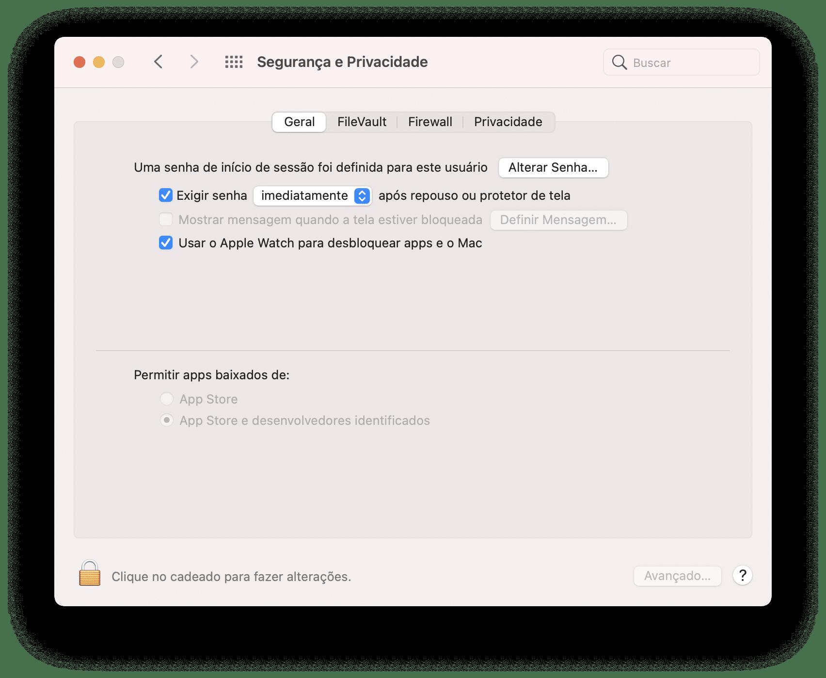 Desbloqueando o Mac com o Apple Watch