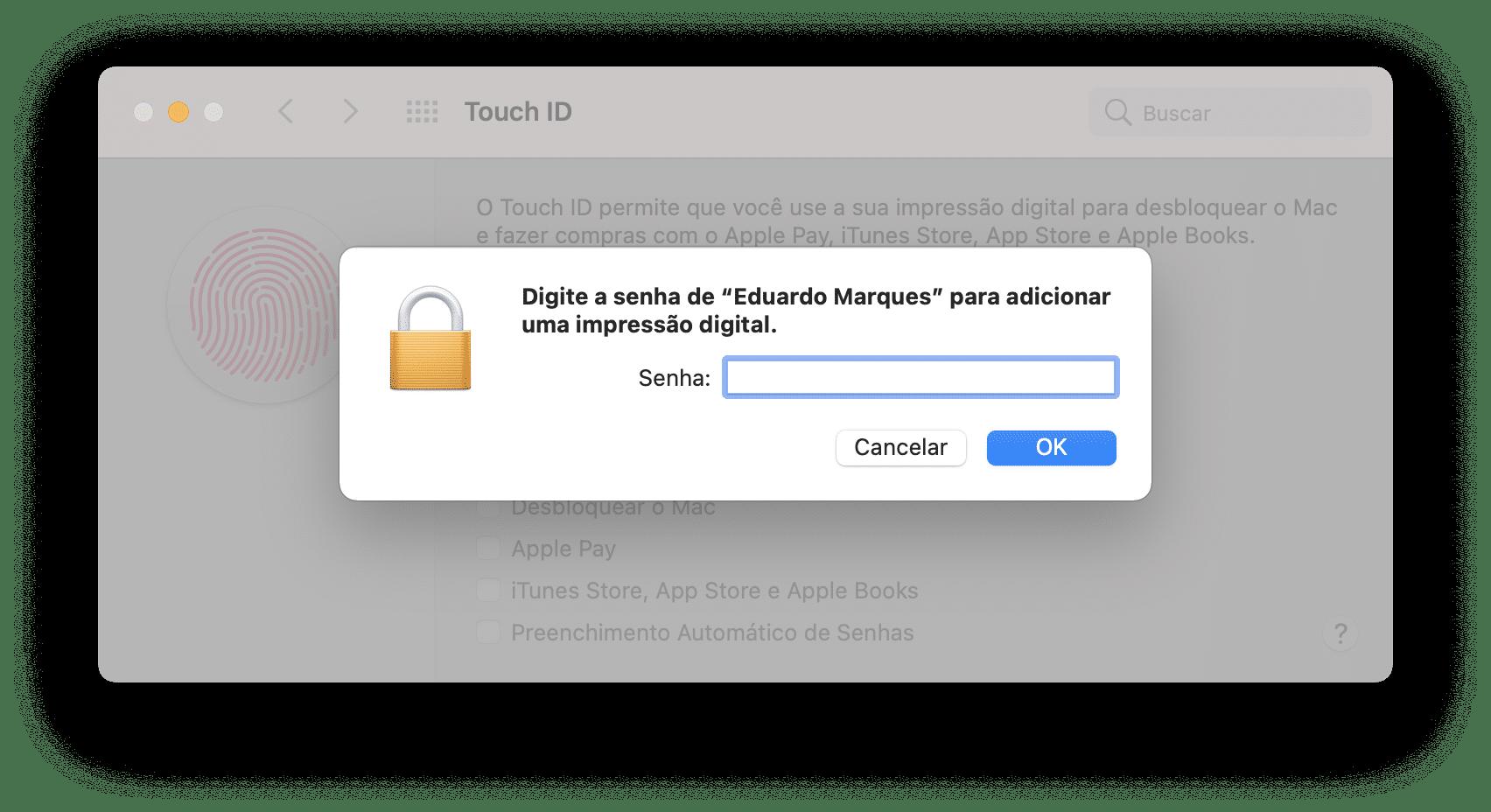 Configurando o Touch ID em um Mac