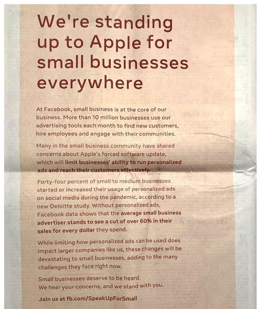 Anúncio do Facebook em jornal