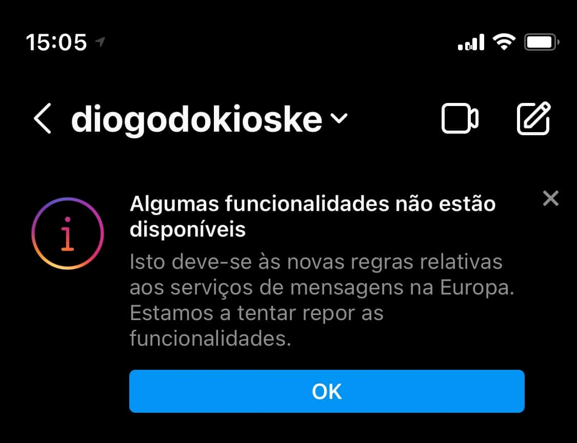 Limitação de recursos no Instagram Direct na Europa