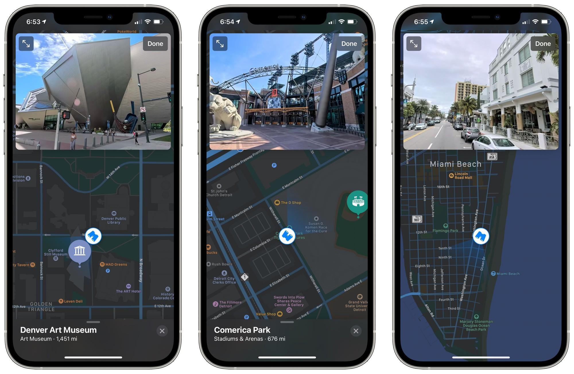 Olhe ao Redor, do Mapas da Apple, em Miami (Flórida, EUA)