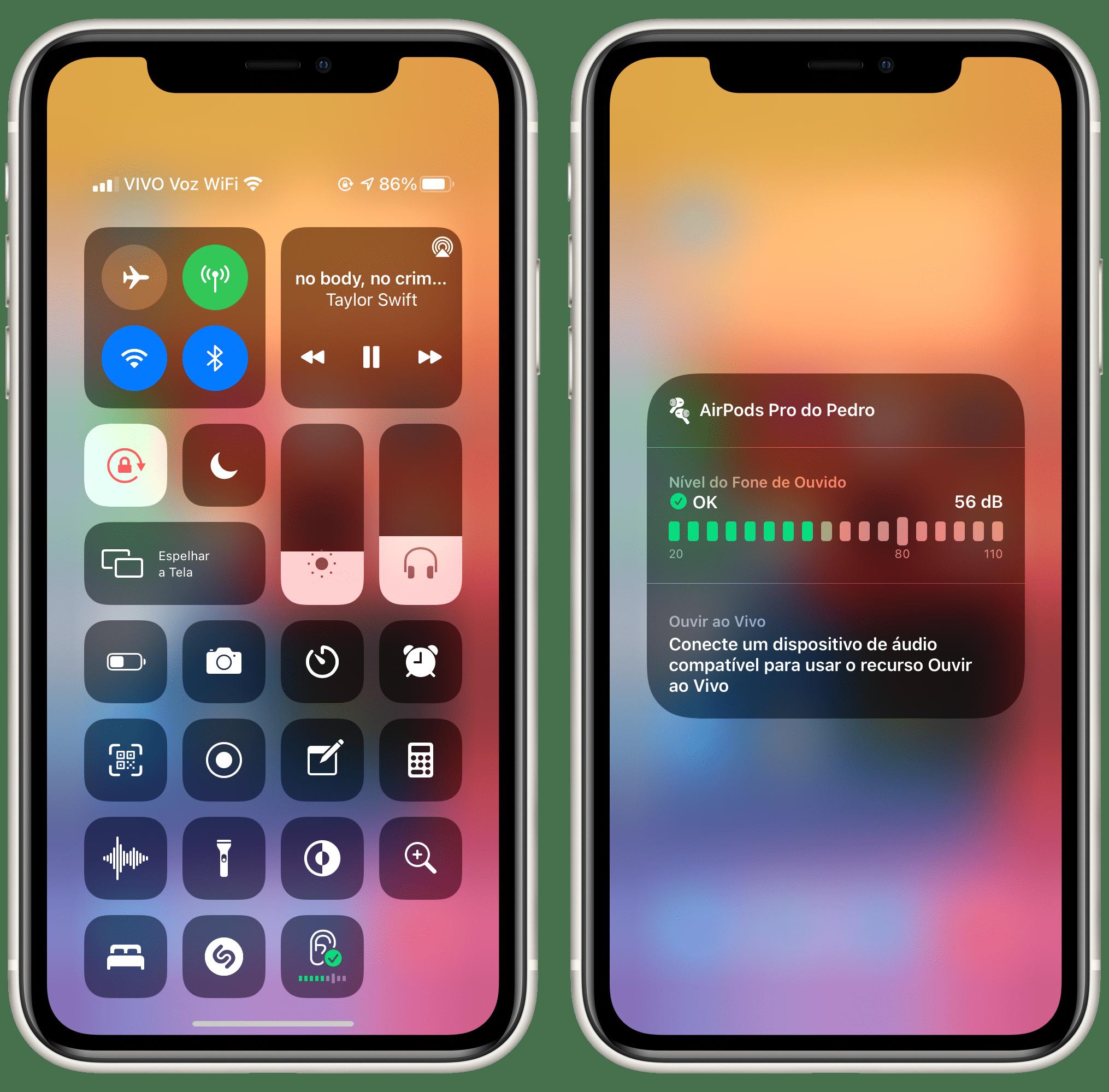 Nível de som ambiente no iOS 14