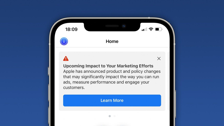 Facebook alertando usuários sobre mudanças do iOS 14