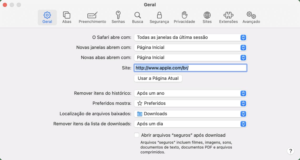 Local de download do Safari no macOS
