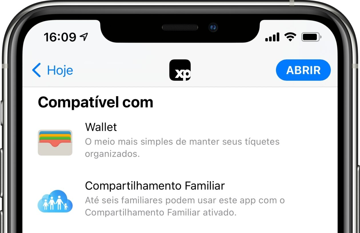 App da XP compatível com o Wallet