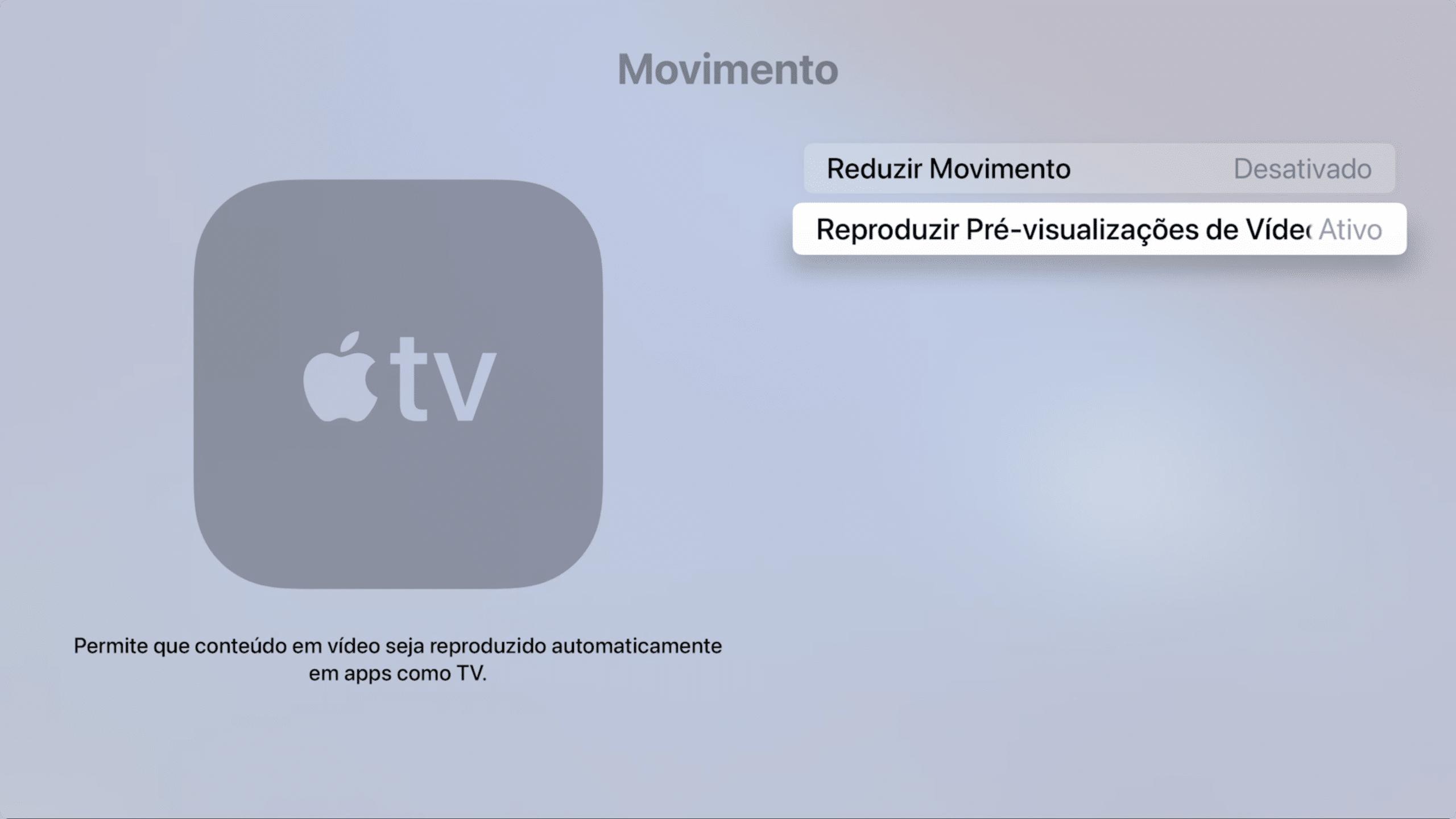 Reprodução automática de vídeo na Apple TV