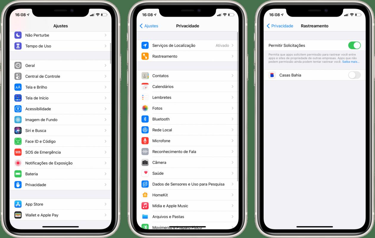 Opções de rastreamento no iOS 14