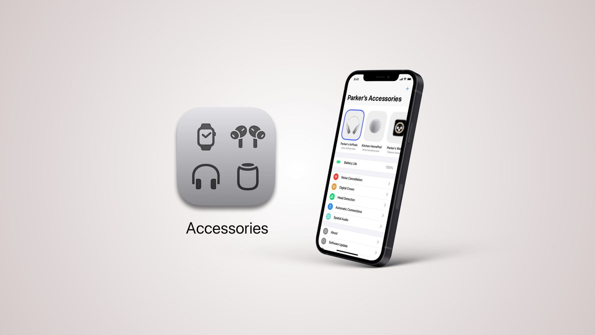 "Conceito de app ""Acessórios"" para iOS"